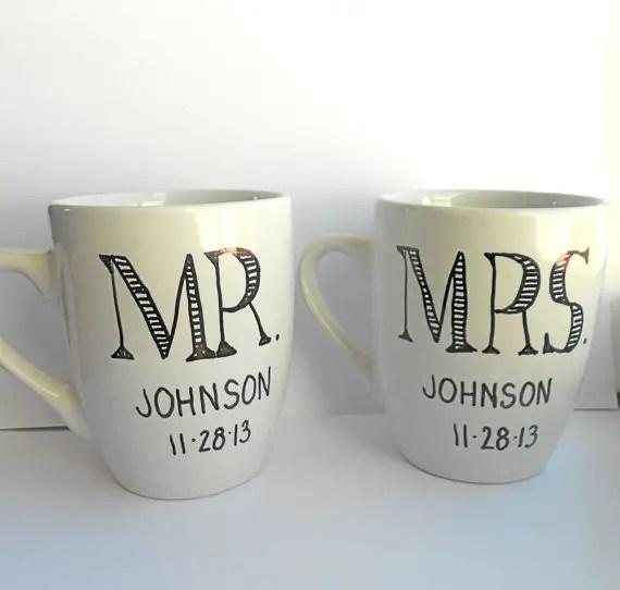 Engagement Gift Ideas (by Indigo Twin Weddings) - custom coffee mugs #wedding #engagement