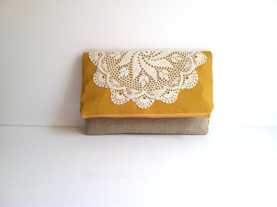 mustard-lace-fold-over-clutch