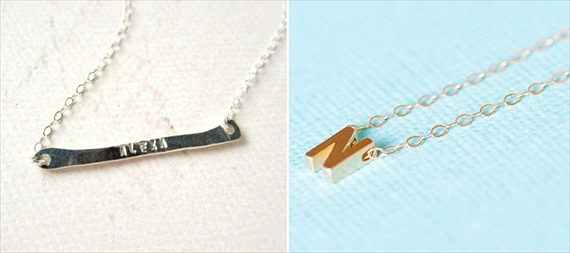 Bridesmaid Gift Giving Rules: name necklace by Foamy Wader, initial necklace by Salty Kisses Hawaii