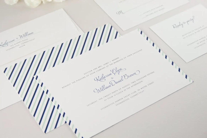 navy and mint wedding invitations