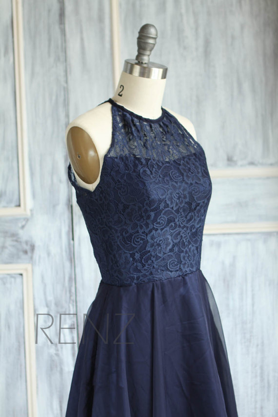 navy blue halter lace bridesmaid dress