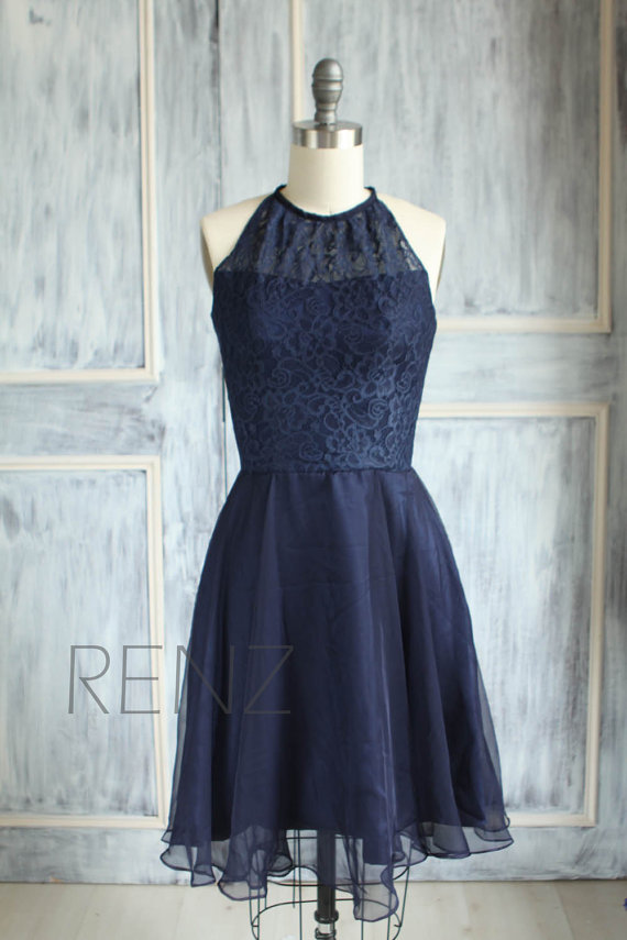 navy blue lace bridesmaid dress