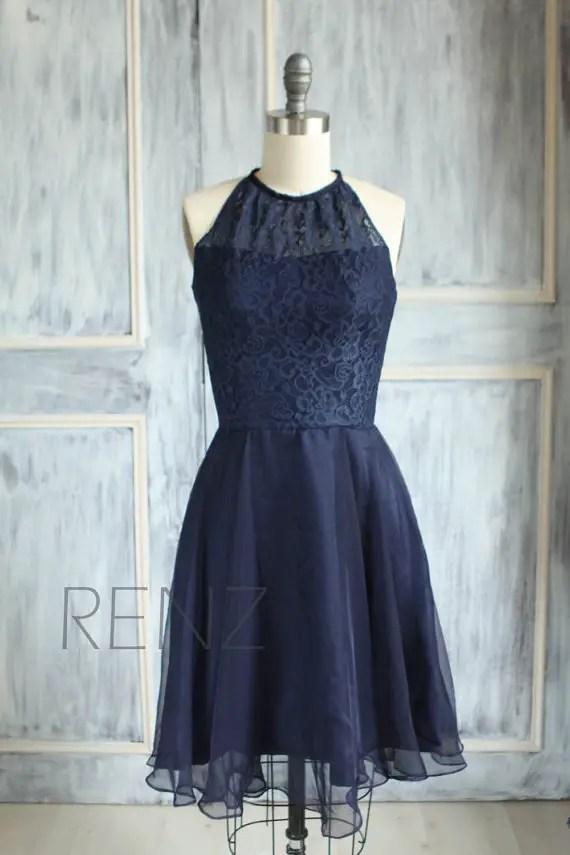navy blue lace bridesmaid dress