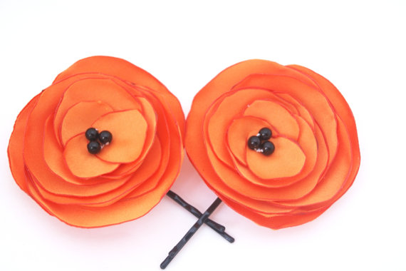 orange bobby pins by nestina accessories via Colorful Wedding Accessories