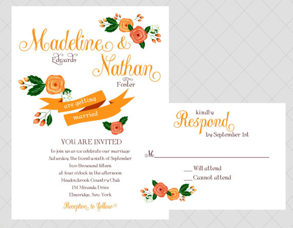 orange via 6 Colorful Wedding Invitations with Florals