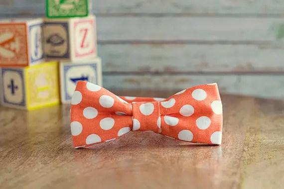 orange white polka dot bow tie