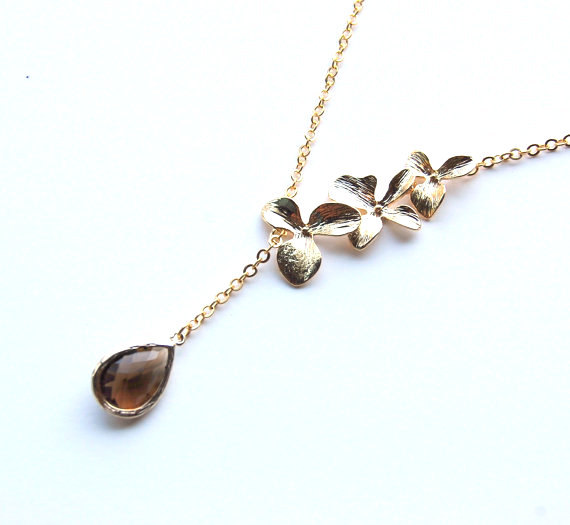 orchid lariat birthstone necklace | birthstone jewelry gifts | http://emmalinebride.com/gifts/birthstone-jewelry-gifts/