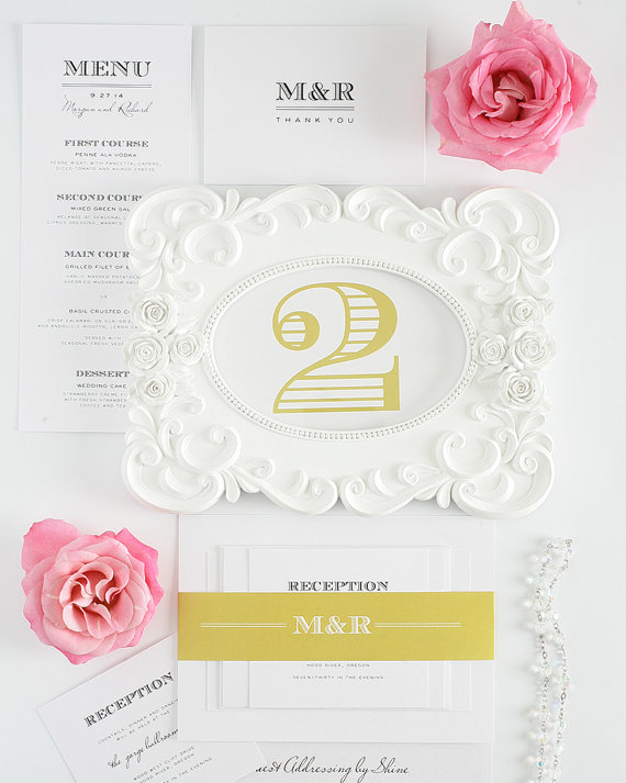 ornate gold table numbers