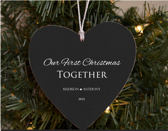 our first christmas together heart ornament by brandonscottad