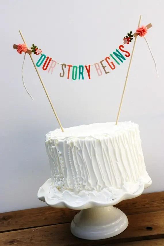 our story begins wedding cake topper banner pipsqueakandbean