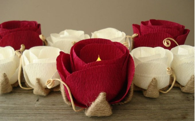 paper flowers with candles inside