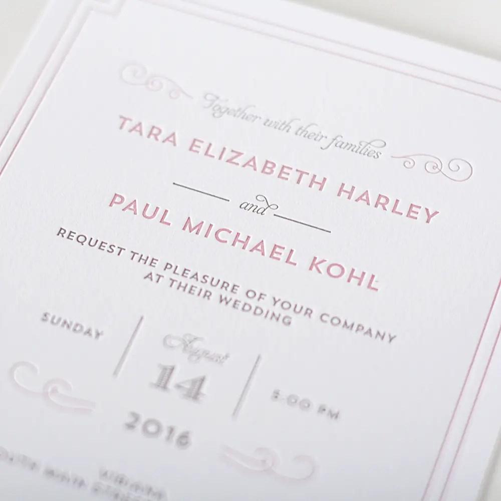 parisian chic letterpress invitation