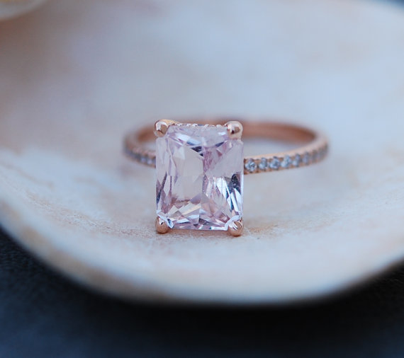 peach sapphire engagement ring modeled after blake lively | Engagement Rings Etsy | via http://emmalinebride.com/jewelry/40-best-handmade-rings-ever/