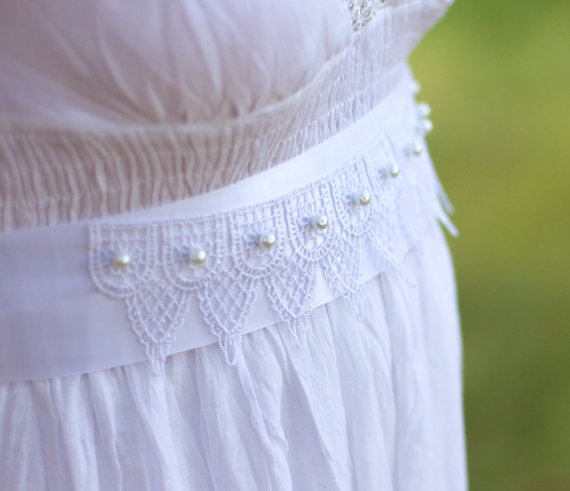 pearl and lace wedding dress sash