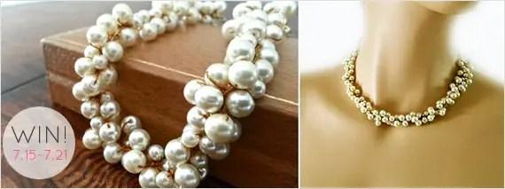 Chunky Pearl Necklace - Giveaway! (by Sukran Kirstis via EmmalineBride.com)