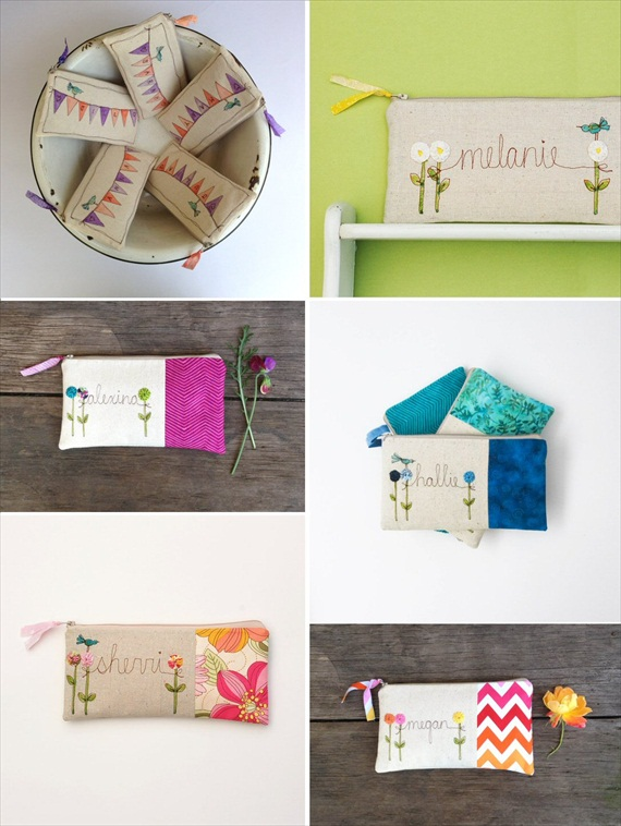 Personalized Bridesmaid Bags (by Mama Bleu Designs) #handmade #wedding