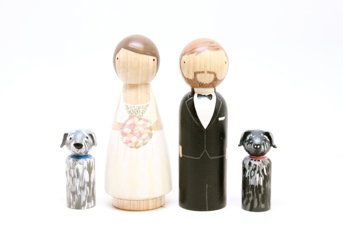 personalized peg doll cake topper with dog