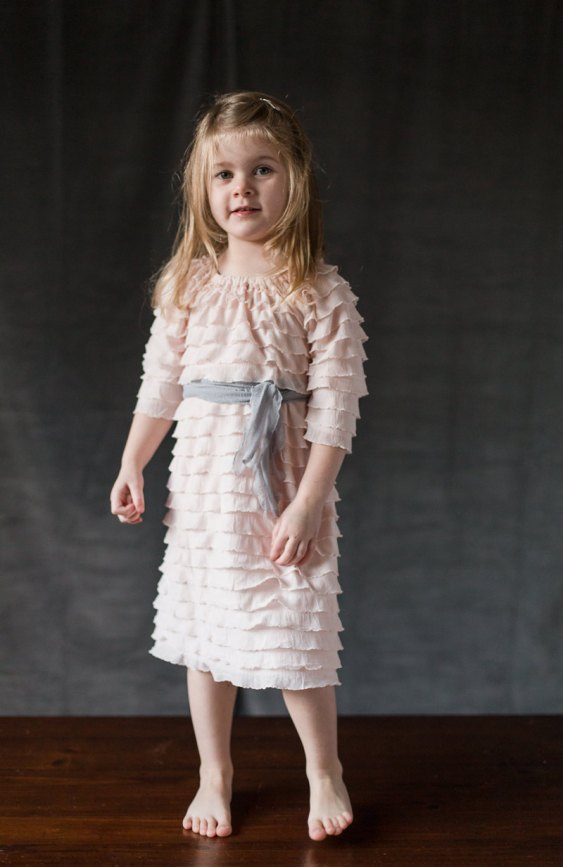 pink and gray flower girl dress with sleeves