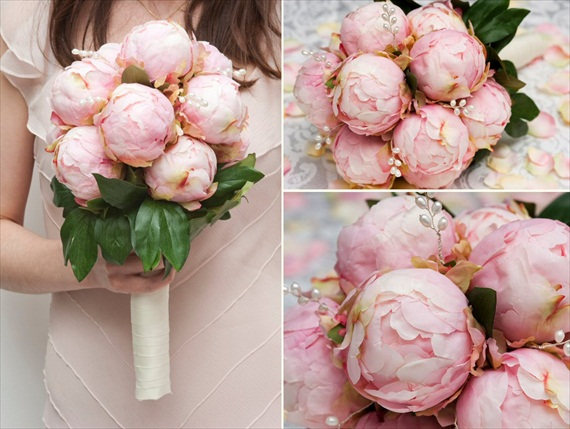 Faux Flower Bouquets - Pink Silk Peony Bouquet (bouquet: jasmine burgess crafts)