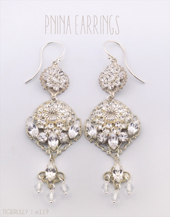 Vintage Drop Earrings (Pnina by Tigerlilly Jewelry) #handmade #wedding #jewelry