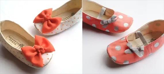 polka dotted flower girl shoes handmade