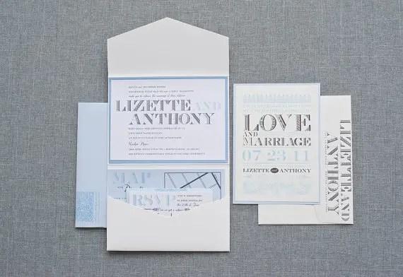 powder blue wedding invitation