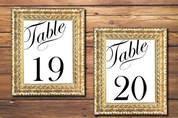 printable wedding table numbers