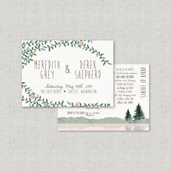 Pine tree wedding programs  by Splash of Silver   http://emmalinebride.com/planning/pine-tree-wedding-invitations/