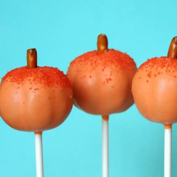 fall wedding favor ideas - pumpkin cake pops (by sweet whimsy shop)