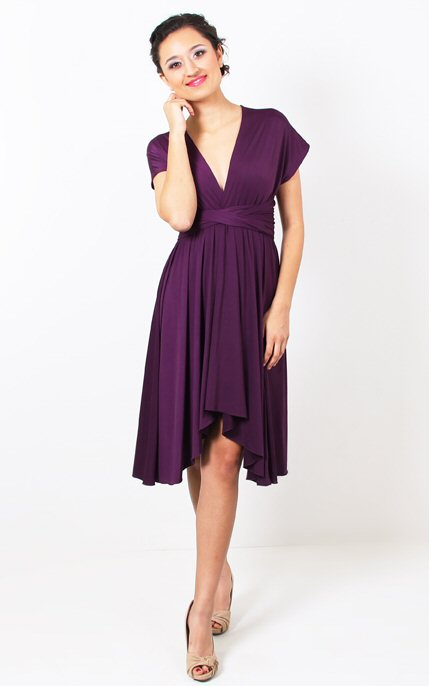 purple bridesmaid dress cap sleeve