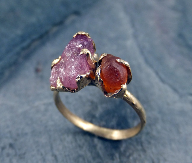raw gemstone rings by byangeline