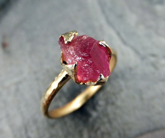raw pink gemstone ring by byangeline
