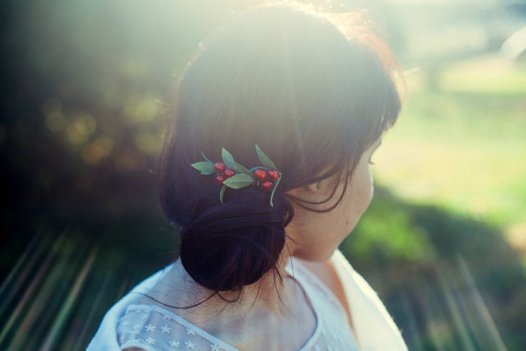 red hair comb with berries