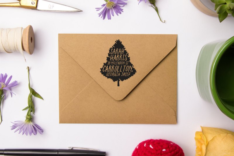christmas tree | return address stamps etsy