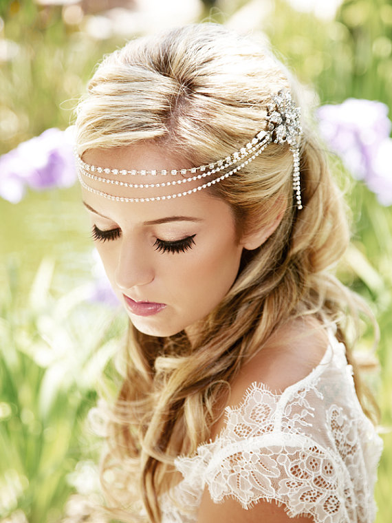 rhinestone bohemian wedding hair accessory