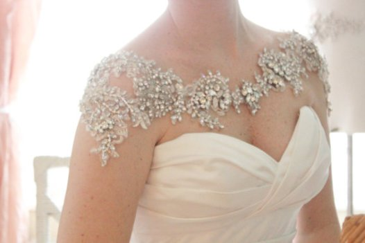 rhinestone bolero   via Wedding Dress with Statement Necklace http://emmalinebride.com/bridal/wedding-dress-with-statement-necklace/