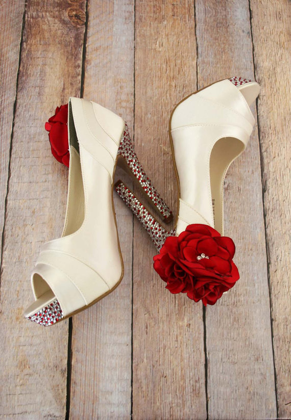 rhinestones and red heels | via 31 Best Handmade Wedding Shoes http://emmalinebride.com/bride/handmade-wedding-shoes/