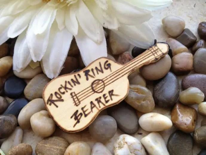 ring bearer badges - guitar