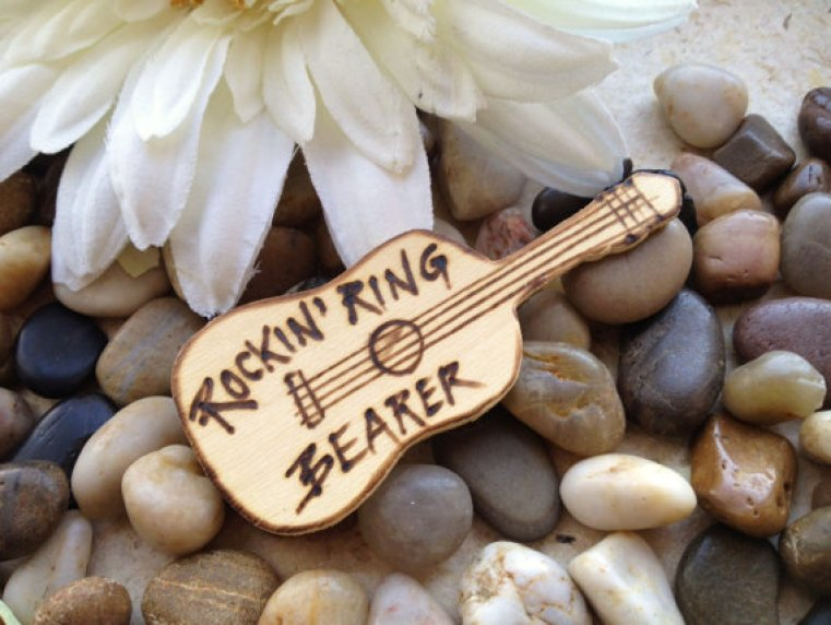 ring bearer badges - guitar