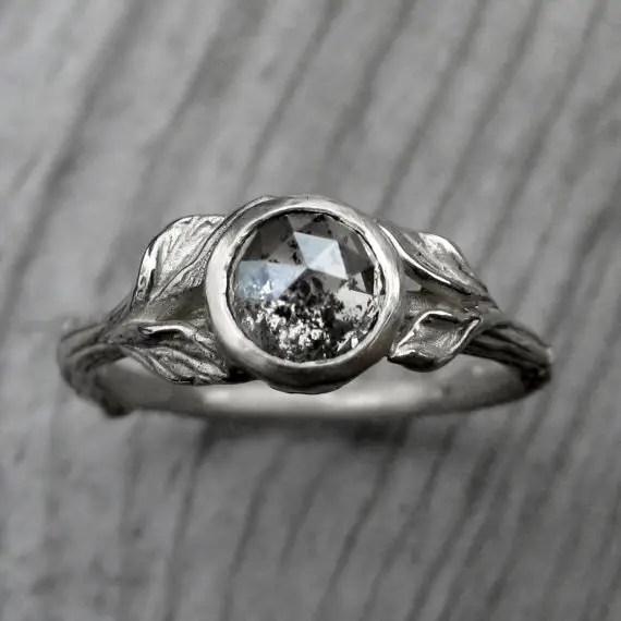 rose cut twig engagement ring