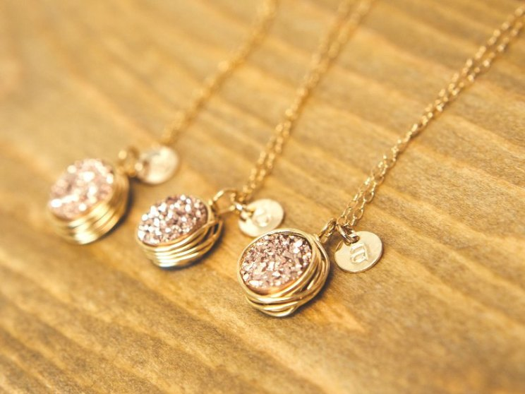rose gold druzy necklaces