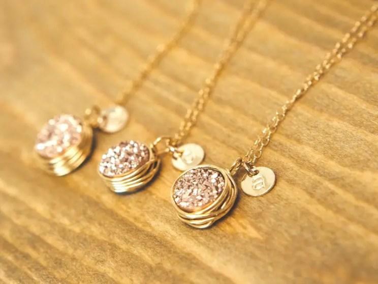 rose gold druzy necklaces