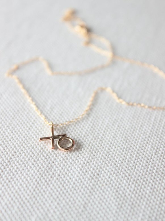rose gold xo necklace