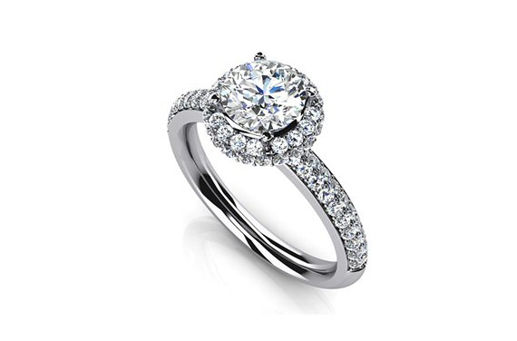 8 Tips for Popping the Question - round engagement ring with diamonds along the band