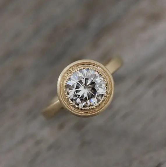round moissanite engagement ring | Engagement Rings Etsy | via http://emmalinebride.com/jewelry/40-best-handmade-rings-ever/ 