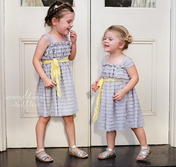 ruffle flower girl dress silver yellow sash