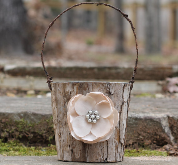 birch bark with flower rustic flower girl baskets
