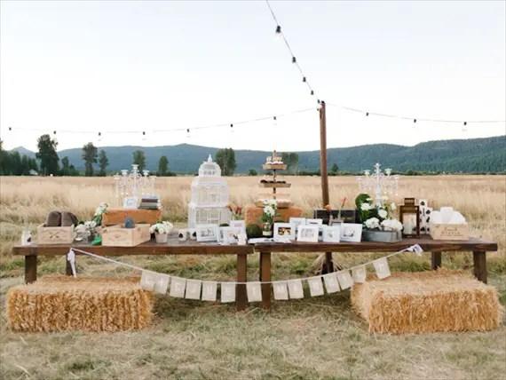 Rustic Barn Wedding Dessert Display