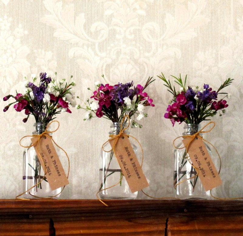 rustic chic flower vases by JoBlake | rustic chic wedding ideas