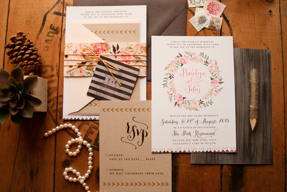 Rustic Floral Wedding Invitations + Floral Guest Book